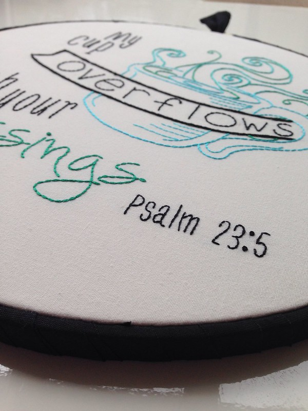 Custom Psalm 23 embroidery hoop