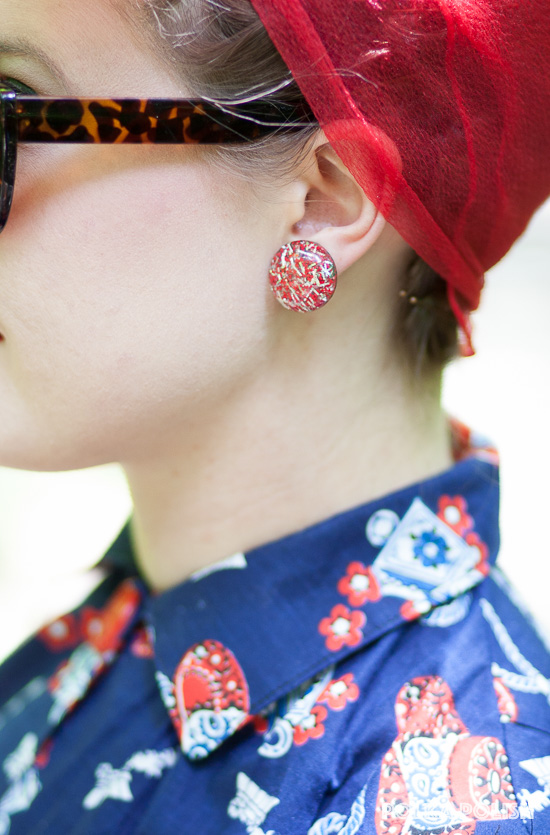 Confetti lucite earrings in silver and red add a pop of retro glam to this ensemble