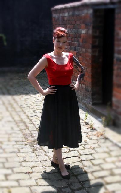 Red Top & Black Skirt