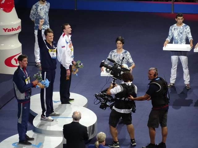 Yannick Agnel on top of the BCN2013 medal podium