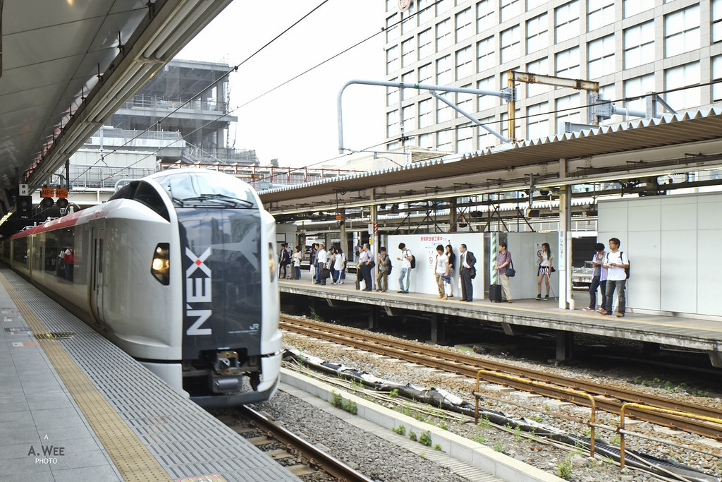 N'EX Train arriving at Shinjuku
