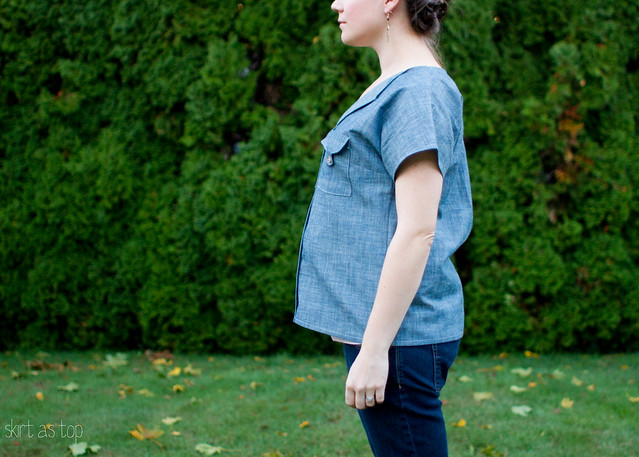 chambray weekend getaway blouse