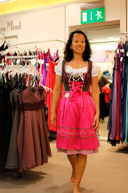 Heather trying on a Bavarian style dress.
