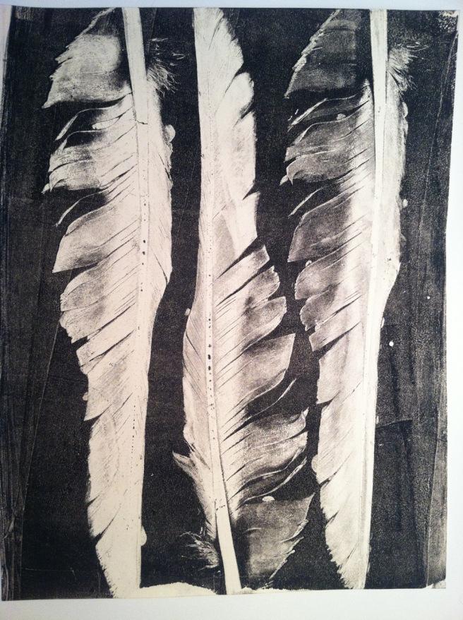 Feather gelatin print