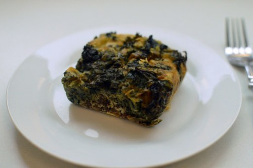 Crustless morcilla & kale quiche