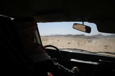 Inside the jeep/4wd, Wadi Rum, Jordan