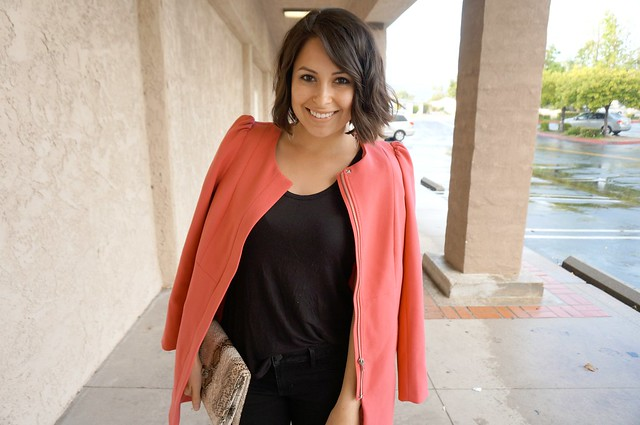 pink collarless coat outfit 5