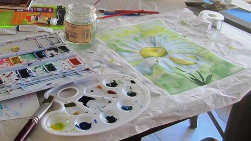 Tratando de pintar con acuarelas