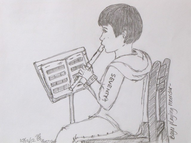 Sketch of A Recorder Player
