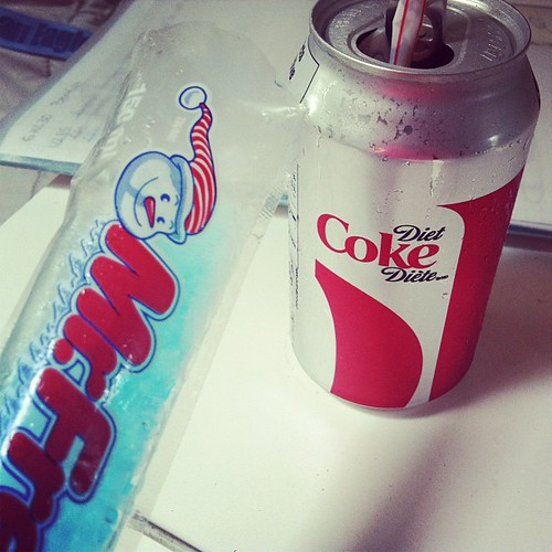 #Essentials to help me get through the next few hours of my day...#dietcoke#freezie#icepop