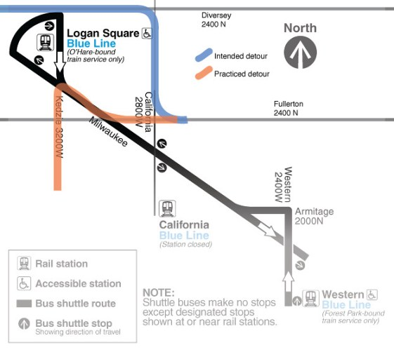 CTA Blue Line traffic detour