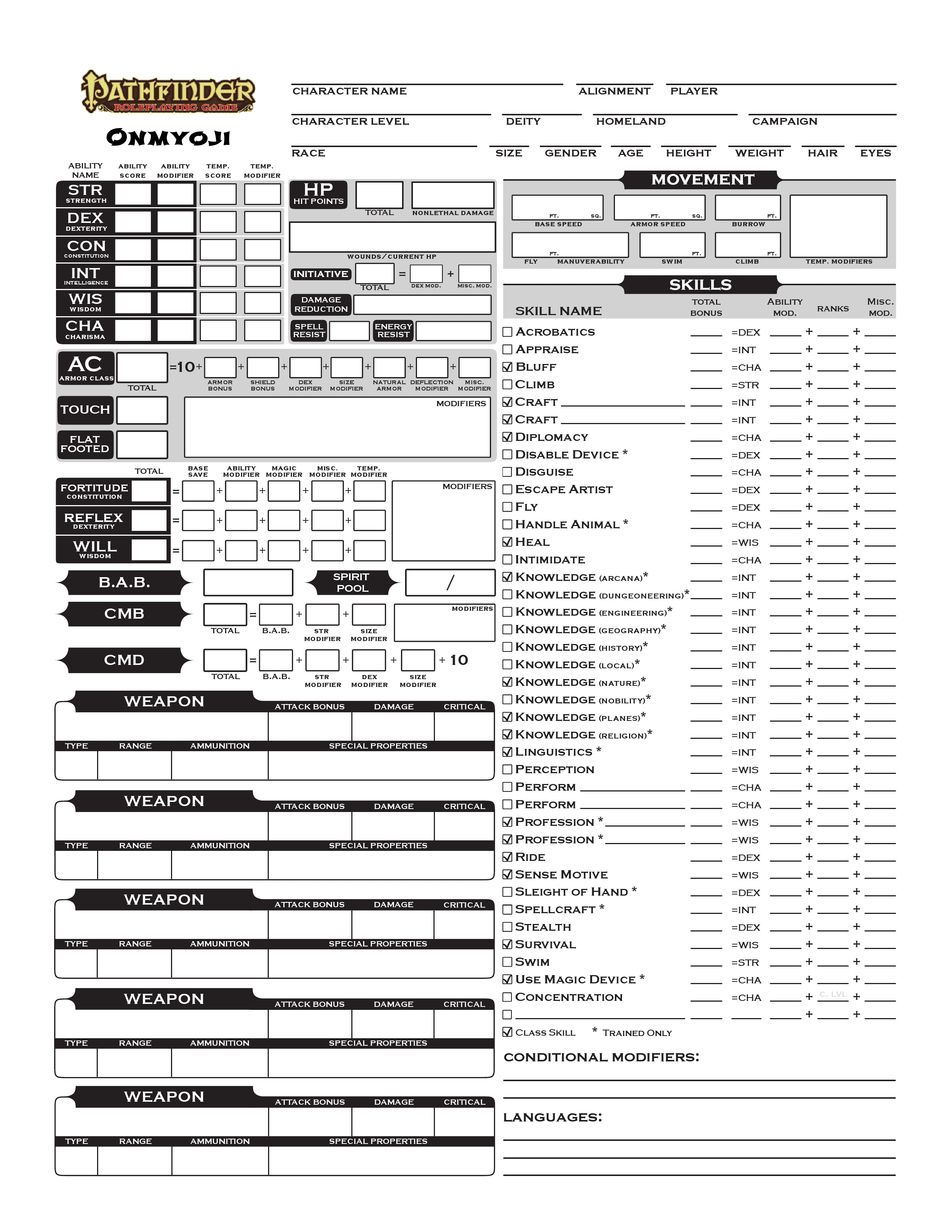 Official Pathfinder Character Sheet