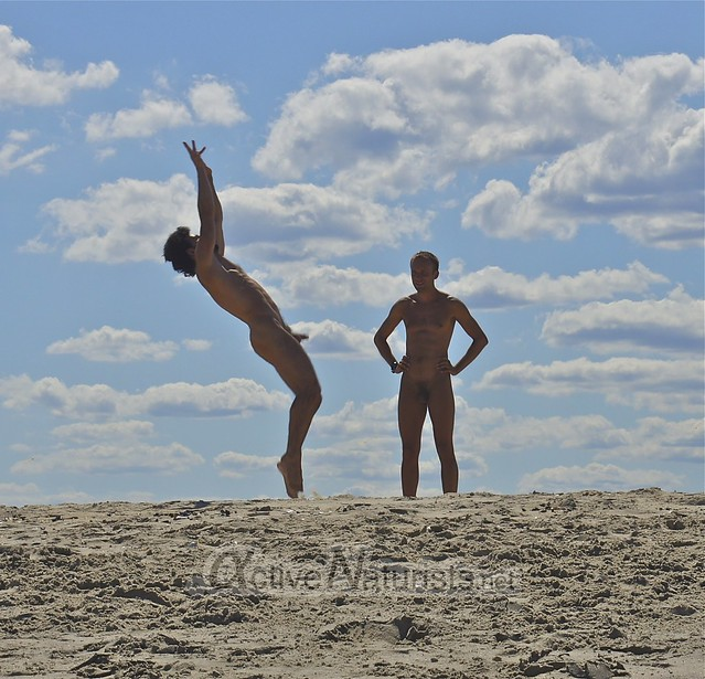 naturist 0005 gymnastics @ Gunnison Beach, Sandy Hook, NJ, USA