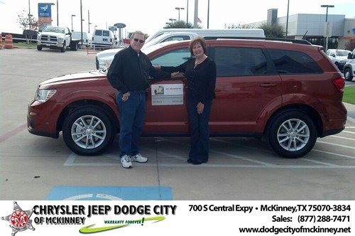 Thank you to Toni Martin on your new 2014 #Dodge #Journey from Bobby Crosby and everyone at Dodge City of McKinney! #NewCarSmell by Dodge City McKinney Texas
