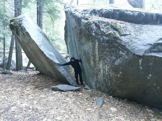 Tony splitting a rock in two in Yosemite.