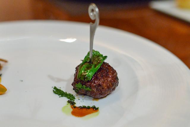 Muscovy Duck tsukune, 'dukkah' sauce, carrot glacê, chanterelle mushroom
