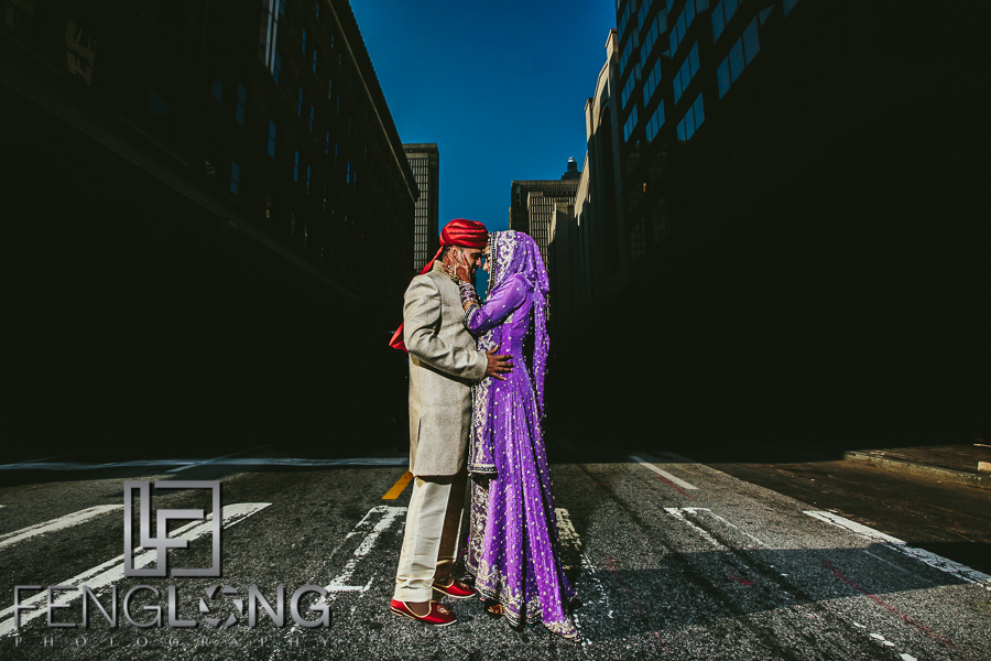 Indian bride and groom portrait on Peachtree Street in Downtown Atlanta
