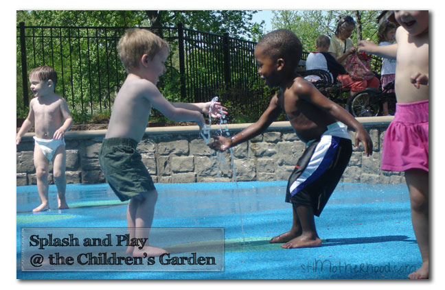 splash pad at Missouri Botanical Garden Children's Garden