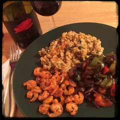 And the you have the Hot-Italian #Shrimp #Jarlsberg Cremini #Mushroom #Risotto & roasted veggies