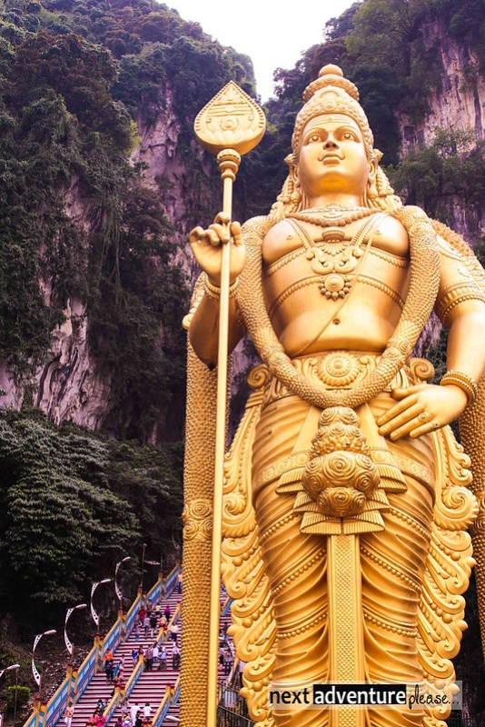 the 140  ft golden Murugan statue