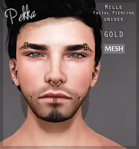 pekka mille facial unisex piercing gold