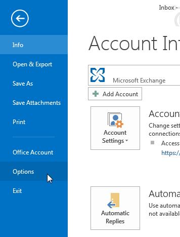 ไปที่ Options ของ Microsoft Office 2013
