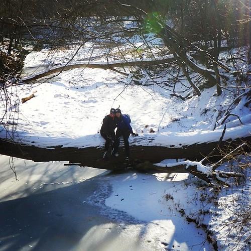 Taking a break on our ride. #bangert #snow #winter #friends