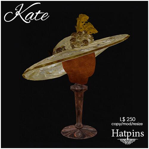 Hatpins - Kate Hat - Goldleaf