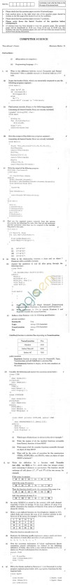 CBSE Compartment Exam 2013 Class XII Question Paper - Computer Science