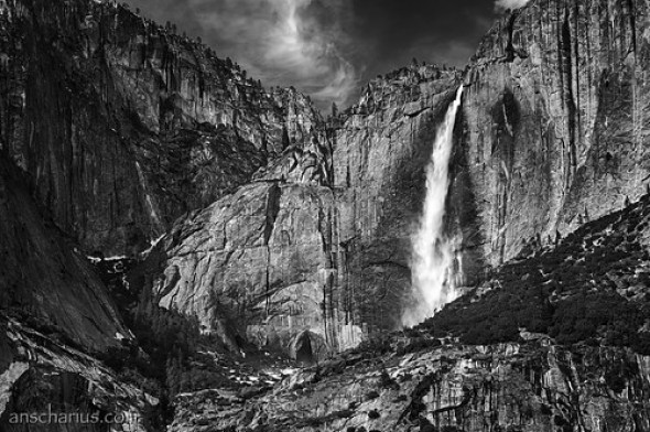 Yosemite Waterfall #2 - Nikon D300 HDR - Black & White
