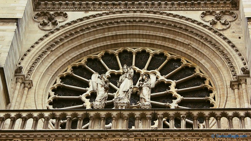 Rose window on western facade of Notre Dame Cathedral in Paris