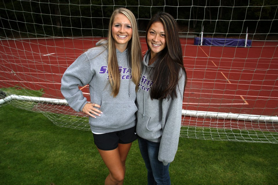 Chloe Harrington, left, and Lauren Hayano, right, are two of three SF State students to have been awarded the California Collegiate Athletic Association (CCAA) All-Academic award for the 2012-2013 school year. The award is given to varsity student-atheletes who complete a minimum of 24 units per year with at least a 3.4 GPA. Photo by John Ornelas / Xpress