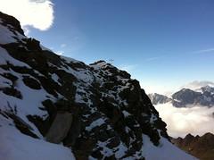 Aufstieg Napfspitze, Gipfelkreuz in Sicht