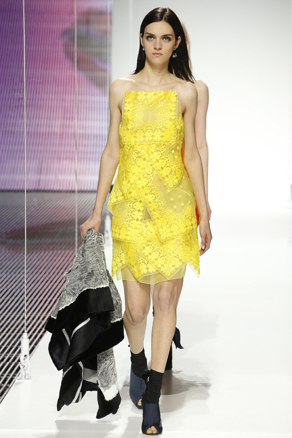 Yellow Christian Dior embroidered organza scarf dress