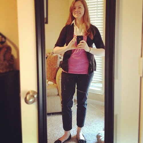 Stood a little close to the mirror for this #ootd :) Cardigan and shoes: Target, slacks: ON, top: Ann Taylor Loft.