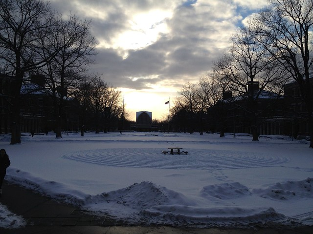 Some students made snow circles...