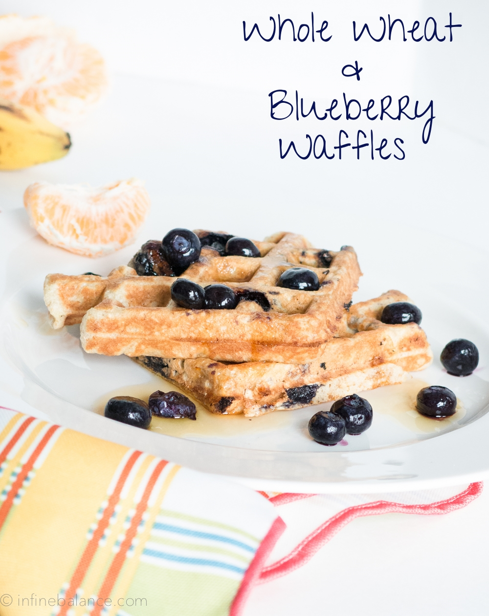 Whole Wheat and Blueberry Waffles #breakfast #recipe