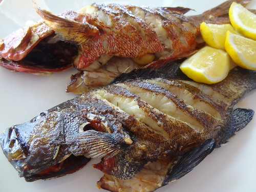 Grilled Grouper and Red Snapper fish
