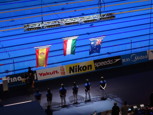 Women's 200 IM flag ceremony at BCN 2013
