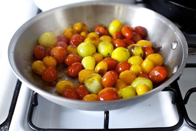 burst and sauteed tiny tomatoes