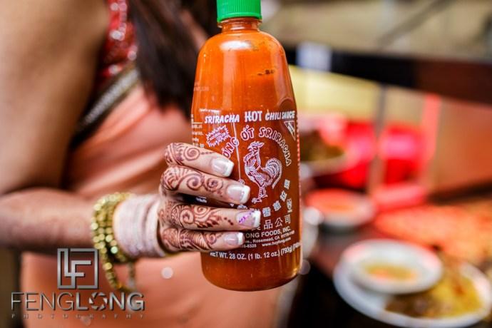 Indian Bride with Sriracha Hot Chili Sauce