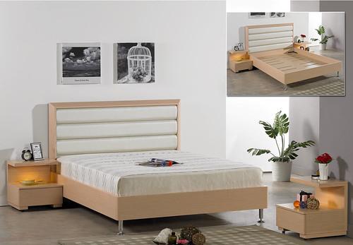掀床工廠推薦款-新貝兒人造白橡床組-高質感排骨透氣床架組1