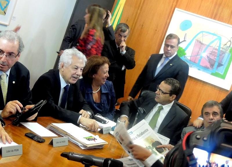 Reunião sobre o Marco Civil da Internet: Eduardo Cunha, Arlindo Chinaglia, Ideli Salvatti, Henrique Eduardo Alves e José Eduardo Martins Cardozo