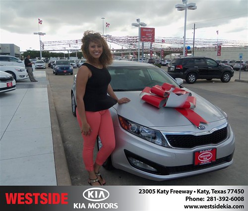 Westside Kia would like to say Congratulations to Sheree Brunes on the 2013 Kia Optima from Gilbert Guzman by Westside KIA