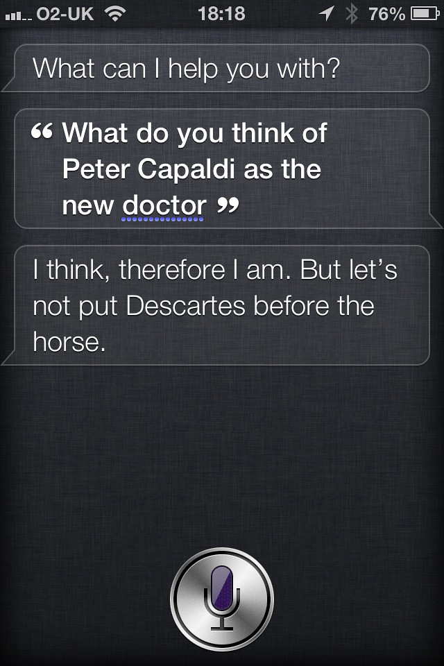 What does Siri think of Peter Capaldi as the new Doctor?