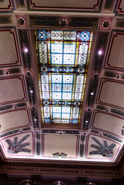 The ceiling in the grand hall at the Jefferson Hotel.