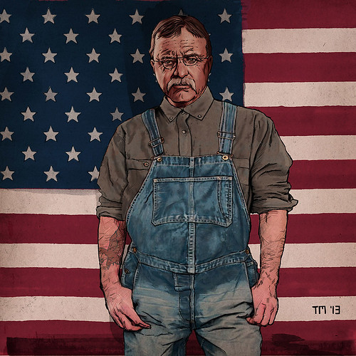 Artwork of Theodore Roosevelt wearing working clothes in front of Stars and stripes.