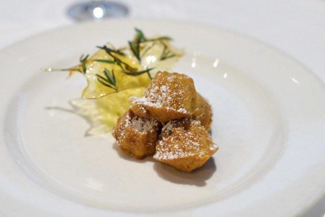 Rosemary Olive Oil Cakes with olive oil gelato & rosemary brittle