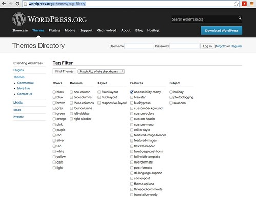 Finding accessible themes in the WordPress Gallery