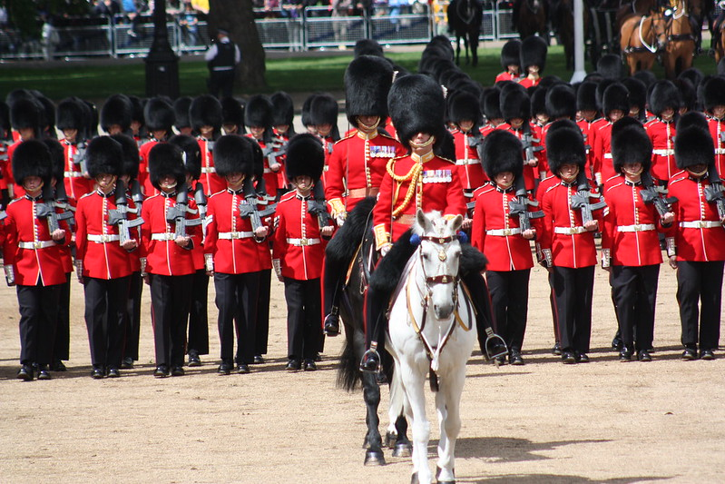 Trooping two guards on horse back